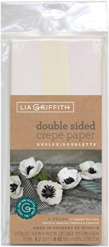 Lia Griffith LG11026 Double Sided Crepe Paper, White & Vanilla - Pack of 2 (Two Sided Crepe Paper)