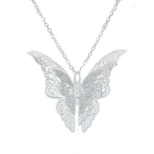 Usstore Women Pendant Lovely Silver Butterfly Pendant Chain Necklace Alloy Jewelry Gift