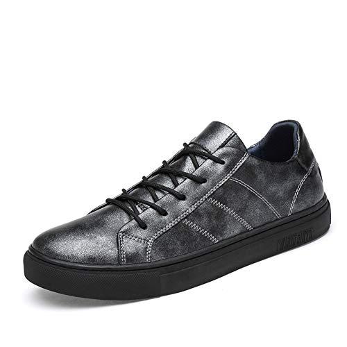 gris 38 EU orT1 Chaussures de sport for hommes Court paniers Lace Up Flat Anti-slip Mode Sports de plein air Course à pied Marche Décontracté Décontracté Bout rond en cuir synthétique Premium Véritable Cuir Décontracté Soft