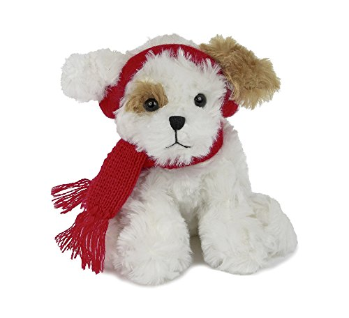 Bearington Chilly Plush Stuffed Animal Brown and White Dog with Scarf, 6 inches