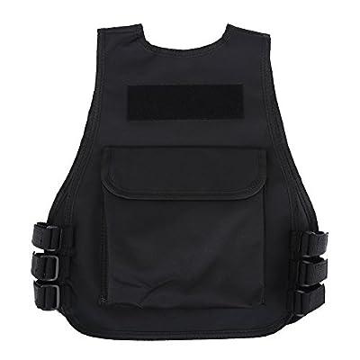 Tbest Children Tactical Vest Kids Breathable Security Guard Waistcoat CS Field Combat Training Protective Vest Black (L-Black)