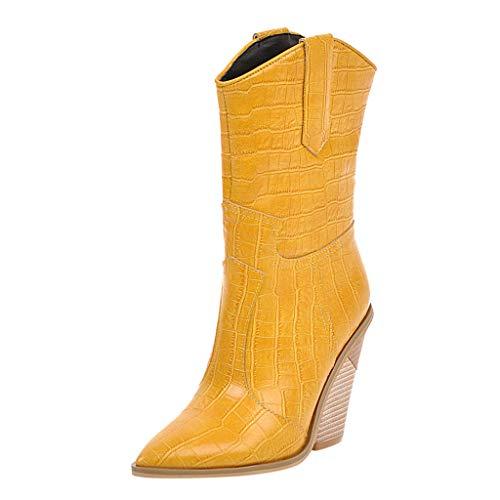 [해외]ZOMUSAR Women`s Boots Women`s Wedges Pointed Toe Comfortable Embroidered Western Rodeo Cowboy Boots / ZOMUSAR Women`s Boots, Women`s Wedges Pointed Toe Comfortable Embroidered Western Rodeo Cowboy Boots Yellow
