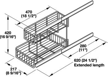 Pull-Out for Under Sinks, Base Unit, Lateral Installation, Pull-Out for Under Sinks, Base Unit, Lateral Installation by Hardware INC