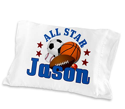 Personalized All Star Boys Sports Toddler Pillowcase Fit Toddler 13 x 18 or Travel 14 x 19 Pillow Insert Baseball Basketball Football Soccer Ball Design