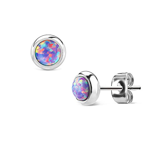MoBody Created-Opal Round Stud Earrings Silver Surgical Stainless Steel Womens Jewelry (Purple Created-Opal)