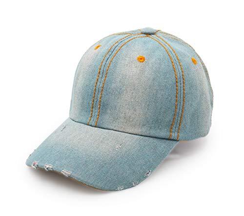 Denim Baseball Cap, Unisex Sport Hat Casual Women Men Sun Hat Outdoor Cowboy Cap Dilapidated Design Sky Blue ()