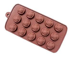 15 holes rose forma chocolate de silicona molde de - Moldes silicona amazon ...