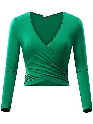 VETIOR Women's Deep V Neck Long Sleeve Unique Cross Wrap Slim Fit Crop Tops (Medium, Green)