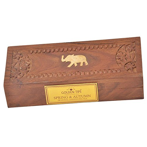 Golden Tips Spring & Autumn Darjeeling Full Leaf Black Tea - Carved Wooden Gift Box, 2x25gm/2x0.88