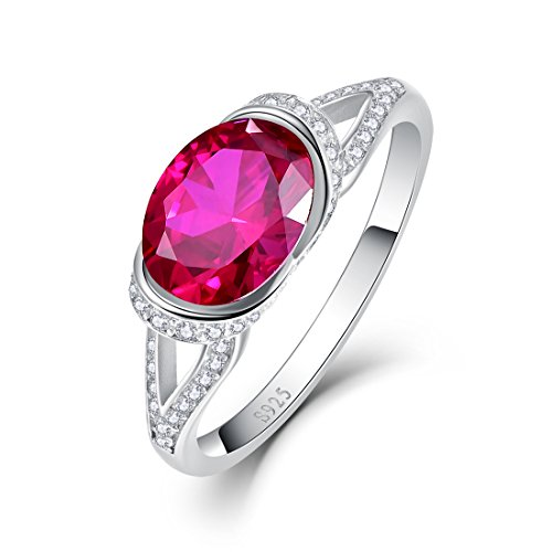 Solitaire Fit Cathedral Comfort - Auzeuner 925 Sterling Silver Cathedral Created Ruby Cubic Zirconia Split Shank Band Solitaire Engagement Ring for Women