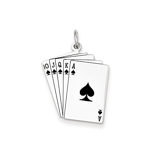 Sterling Silver Playing Card - Mireval Sterling Silver Playing Cards Charm (27 x 19mm)