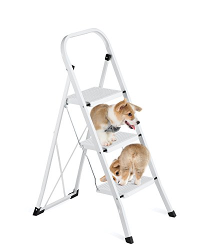 Delxo 3 Step Ladder Folding Step Stool Ladder with Handgrip Anti-Slip Sturdy and Wide Pedal Multi-Use for Household and Office Portable Step Stool Steel 330lbs White (3 Feet) by Delxo (Image #2)