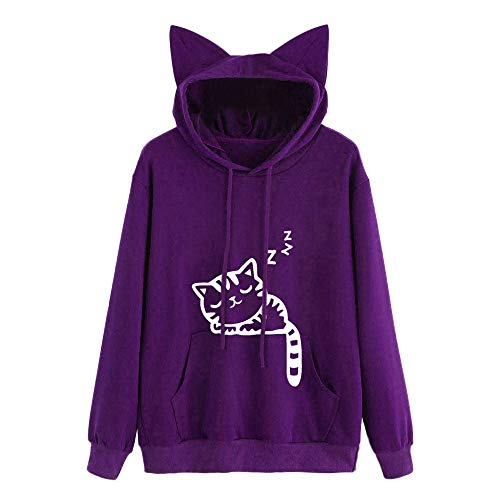 Sunhusing Ladies Cute Cat Print Long Sleeve Pocket Drawstring Hooded Sweatshirt Women Pullover Top Blouse