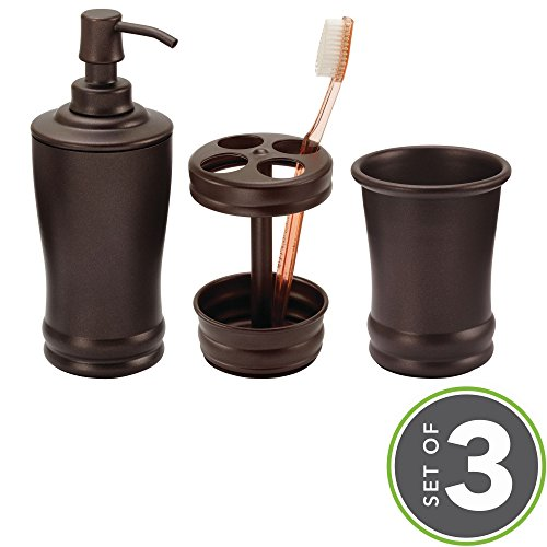 mDesign Classic Soap Dispenser Pump, Toothbrush Holder Stand, Tumbler for Bathroom Vanities - Set of 3, Bronze