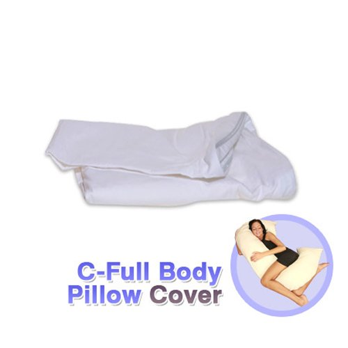 Deluxe Comfort C-Body Pillow Replacement Cover - 100% Cotton - Superior Comfort - Allergen-Free - Pillow Cover, White