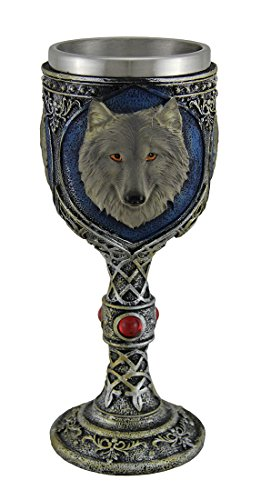 Metallic Tribal Finish Grey Wolf Head Wine Goblet with Stainless Steel Liner