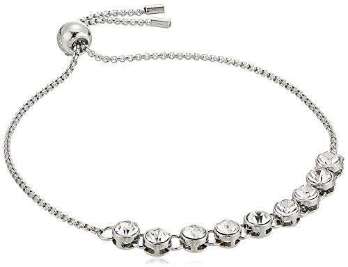 Kenneth Cole Ladies Bracelet - Kenneth Cole New York Delicates Collection Women's Silver and Crystal Slider Bracelet, Color Crystal/Rhodium