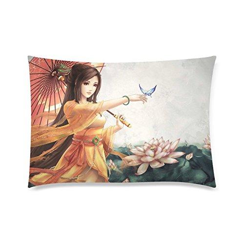 Japan Geisha Girl Rectangle Sofa Home Decorative Throw Pillow Case Cushion Cover Cotton Polyester Twin Side Printing 20