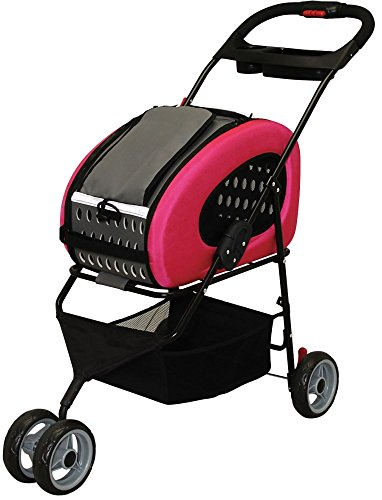 IRIS USA, Inc. Adjustable 4-Way Pet Stroller, Pet Carrier, FPC-920, Pink
