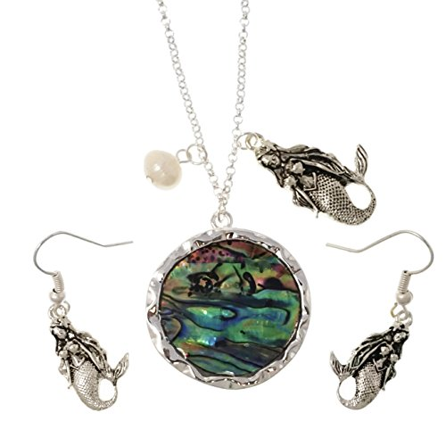 Elosee Mermaid Abalone Pendant Freshwater Pearl 18