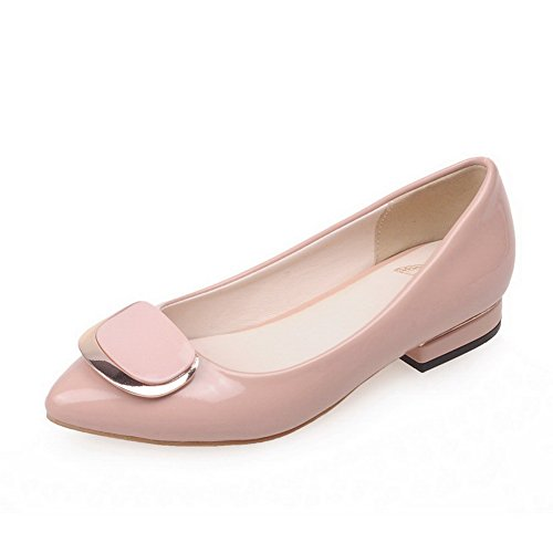 Closed Leather Low Heels Shoes Pink Solid Women's Pull Patent Pointed WeiPoot Toe On Pumps xEgw0zqzA