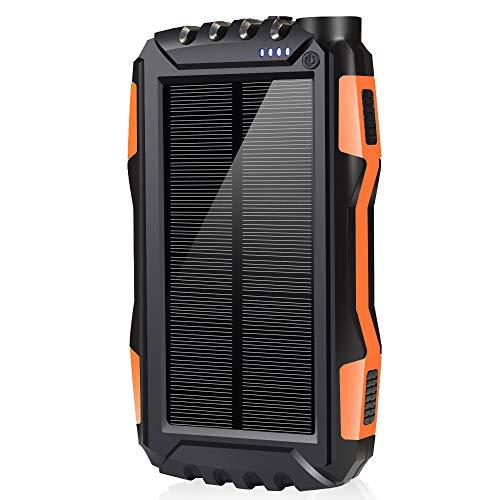 soyond Solar Phone Charger, Solar Power Bank, 25000 mAh Portable Backup Battery Pack Power Bank Solar Battery Charger Dual USB Waterproof Led Light (Orange_25000mAh)