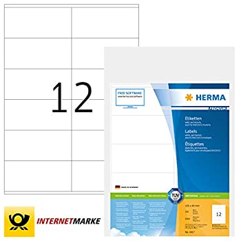 Image of All-Purpose Labels HERMA Self Adhesive Multi-Purpose Labels, 12 Labels Per A4 Sheet, 6000 Labels for Laser and Inkjet Printers, 105 x 48 mm (4417)