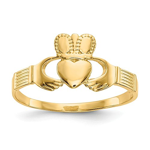 14k Yellow Gold Ladies Irish Claddagh Celtic Knot Band Ring Size 6.00 Fine Jewelry Gifts For Women For Her