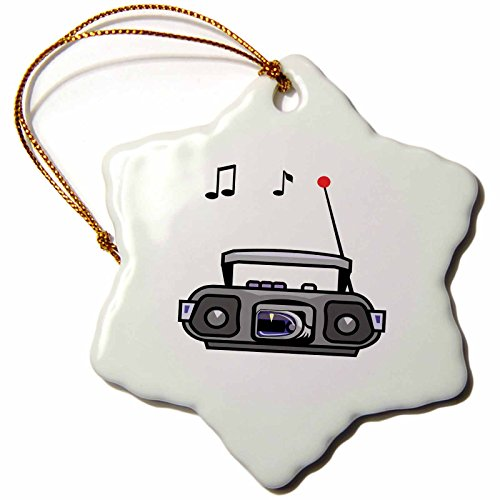 3dRose cassette boom box with notes grey - Snowflake Ornament, Porcelain, 3-inch (orn_164244_1)