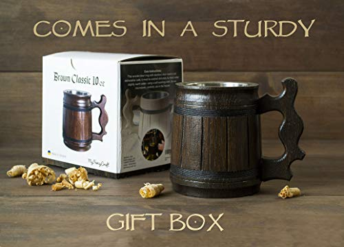 Handmade Beer Mug Oak Wood Stainless Steel Cup Gift Natural Eco-Friendly Wooden Tankard 0.3L 10oz Classic Brown (Set of 6 Mugs) by MyFancyCraft (Image #6)