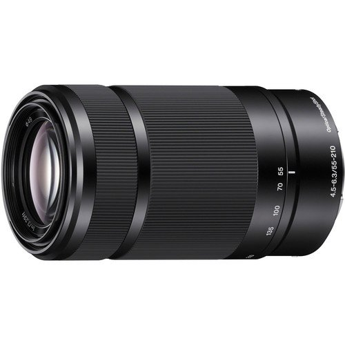 Sony E-Mount 55-210mm F 4.5-6.3 Lens for Sony E-Mount Cameras Bundle with PixiBytes Microfiber Cleaning Cloth (Black)