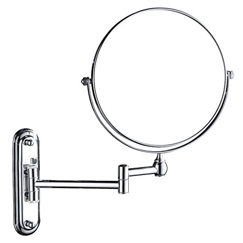 GURUN 10x Magnification Wall Mount Magnifying Mirror Two Sided,8 Inch, Chrome Finish M1207(8in,10x) Chrome Wall Mount Mirror