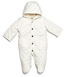Leveret Quilted Baby Snowsuit (12 Months, White)