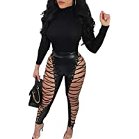 7802a5924297f Joseph Costume Womens Sexy Faux PU Leather Lace Up High Waisted Bodycon Skinny  Pants Trousers Party