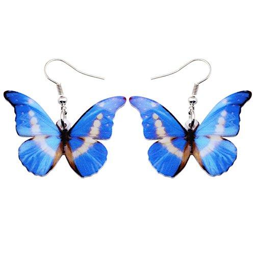 Bonsny Drop Dangle Big Morpho Helena Butterfly Earrings Fashion Insect Jewelry For Women Girls