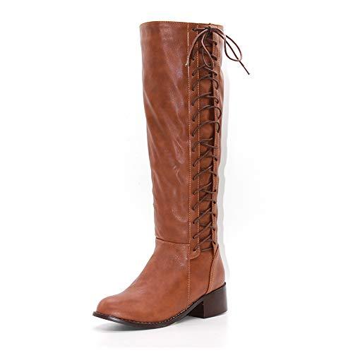 DecoStain Women's Mature Concise Strap Buckle Belt Strap Zip Pointed Toe Comfort Knee High Boots 5cm Dark Brown