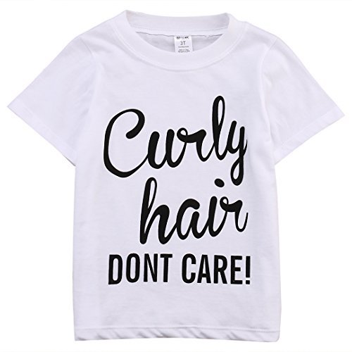 Price comparison product image BiggerStore Kids Baby Girl Curly Hair Don't Care Printed Summer White T-shirt Short Sleeve Tops (3T)