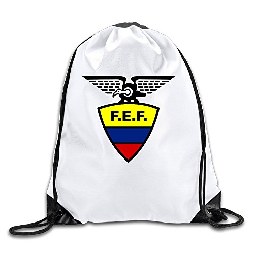 Price comparison product image 2016 Copa America Ecuador National Football Team Logo Lightweight 100% Polyester Drawstring Canvas Bag White One Size