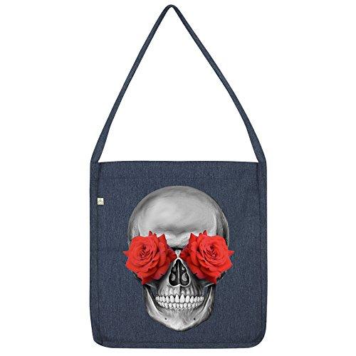 Twisted Envy Rose Eye Skull Tote Bag Navy