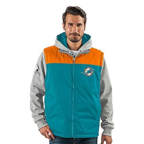 Licensed Sports Apparel Miami Football Dolphins Men's 5-in-1 Fleece Hooded Jacket & Woven Reversible Vest Set - -