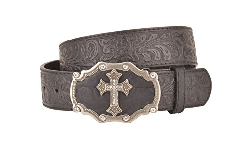 Embossed Cross Strap (Womens Embossed Pattern Black Leather Belt Silver Cross and Black Buckle (M))