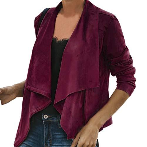 UONQD Women's Fashion Long Sleeve Autumn Winter Short Top Jacket Outwear(X-Large,Wine) ()