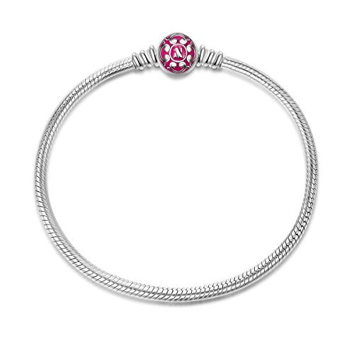 NinaQueen 925 Sterling Silver Bangle Bracelet with Pink Snap Clasp 8.3 Inches Well for Charms Bead, Birthday Anniversary Gifts for Women Wife Mom Teen Girls Girlfriend Niece Sisters