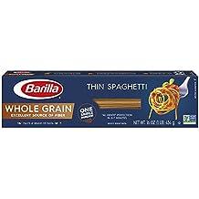 Barilla Whole Grain Pasta, Thin Spaghetti, 16 Ounce (Pack of 12)