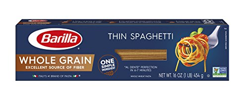 Barilla Whole Grain Pasta, Thin Spaghetti, 16 Ounce (Pack of 12)
