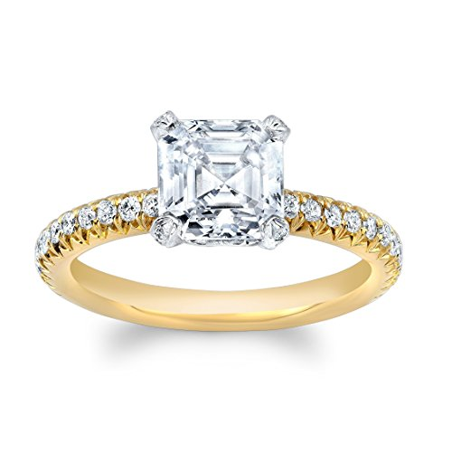 Women's 14k two tone diamond engagement ring with 2ct White Sapphire Asscher Cut center 0.30 ctw F-G color VS 1-2 clarity diamonds