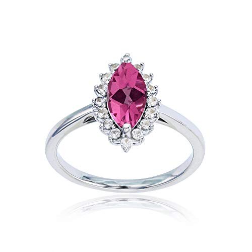 Sterling Silver Rhodium 10x5 Marquise Pink Topaz & Round Created White Sapphire Ring