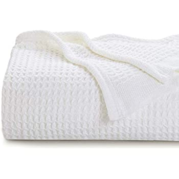 Bedsure 100% Cotton Thermal Blanket - 405 GSM Soft Blanket in Waffle Weave for Home Decoration - Perfect for Layering Any Bed for All-Season - Twin Size (66 x 90 inches), White