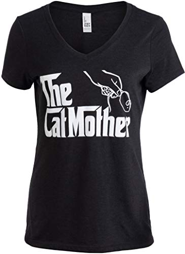 The Catmother | Funny, Cute Cat Mother Mom Owner Pet Kitty Kitten Women V-Neck T-Shirt-(Vneck,2XL) Vintage Black