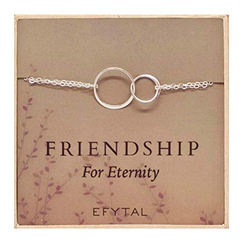 (EFYTAL Sterling Silver Friendship for Eternity Bracelet, Two Interlocking Infinity Circles Gift for Best Friend)